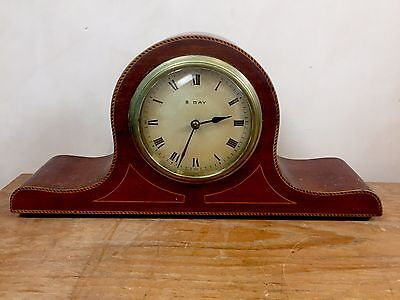 "French Inlaid Mahogany Platform Winding Movement Timepiece Mantle Clock GWO 12""L"
