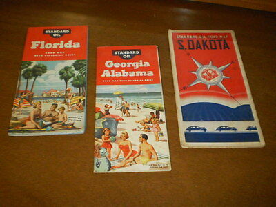 Vtg US Standard Oil Gas Service Station State Road Map Lot~SD~FL~GA AL~Pictorial
