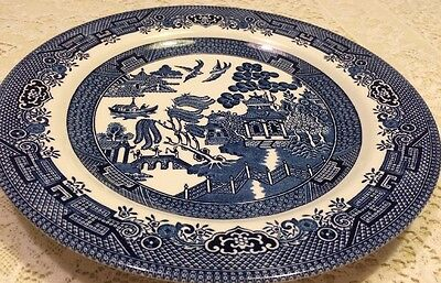 Estate Churchill Made In Staffordshire England Blue Willow Dinner Plate