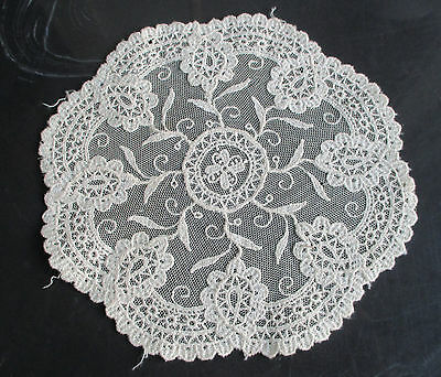 "Antique Vintage Tambour Net Lace Embroidery Doily Delicate Round 8.25"" Wide"