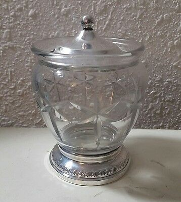 Vintage Sheffield Silver Co. Cut Glass Sterling Marmalade Jam Jar Slotted Lid