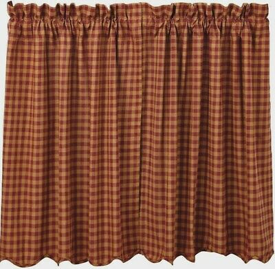 "36"" L Lined Window Tier Set Burgundy Red & Tan Check Cotton Cafe Curtains 72"" W"