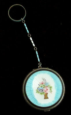 Beautiful Sterling Silver Blue, White & Black Enamel Compact With Chain & Ring