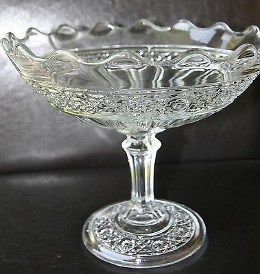 "Pretty 6 1/4"" Tall Glass Compote - Unknown Maker or Pattern"