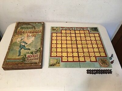 Antique Mcloughlin Brothers District Messenger Boy Board Game 1886
