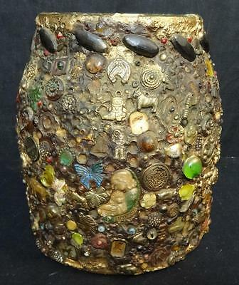 Amazing Decorated Memory Art Jar Incredible Amount of Applied Pieces!