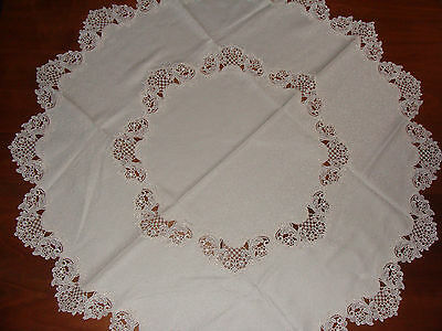 German Table Linen Doily Cloth Lace Round Runner Vintage Ivory w/ Center 38 in