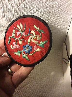 Antique  Chinese Fabric  Embroidery Flower  Needle Holder -Pen Wipe