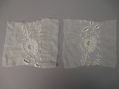 Pair of Antique lace Victorian era floral  hand embroidery