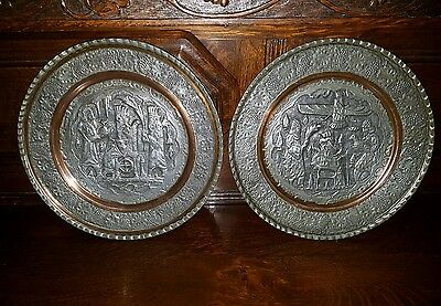 Rare Pair Of Antique Tinned Copper Etched Shahnameh Islamic Persian Plates