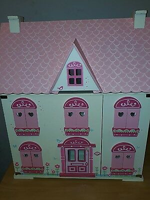 Elc Wooden Dolls House With Furniture Picclick Uk