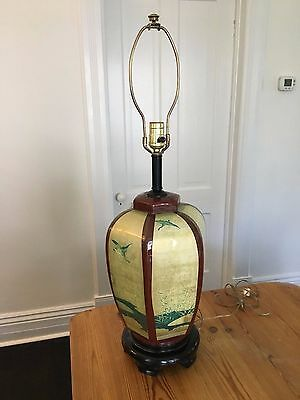 Antique Japanese Chinese Table Lamp Cranes Painting Birds Pagoda Lacquer Hexagon