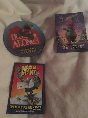 Lot of 3 Movie Promo Pins / Buttons Barney Iron Giant Home Alone 3
