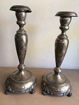 Antique/vintage 13 1/4 inch pair silver metal unmarked candlesticks hollow