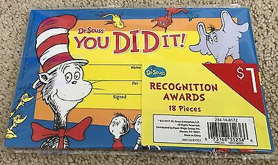 Dr. Seuss You Did It! Teacher Recognition Awards-18 Count-Nwt!