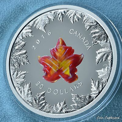 2016 Canada  $50  Autumn Radiance - 5 oz .9999 silver with Murano Glass element