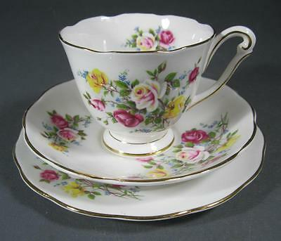 Shabby vintage Queen Anne 'Country Gardens' trio bone china floral motif-chic