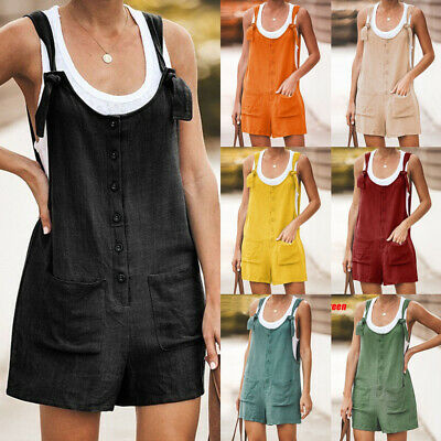 UK Women Holiday Mini Playsuit Ladies Shorts Jumpsuit Hot Beach Dress Blouse Top