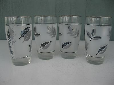 Set of 4 Vtg Mid Century Libbey Frosted Silver Leaf Highball Glasses Tumblers