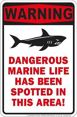 WARNING DANGEROUS MARINE LIFE sign for Fishing Goldfish lover Country Hunter fan