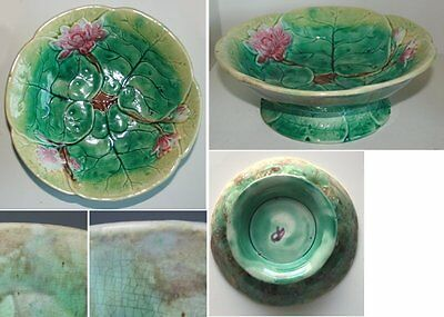 Pretty/Old Majolica Water Lily Bowl, Great Colors
