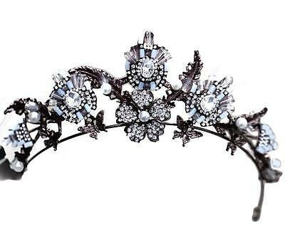 Vintage Baroque Bridal Crystal Pearl butterfly Crown Tiaras Headband Accessories