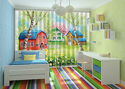 3D Cute House 5 Blockout Photo Curtain Printing Curtains Drapes Fabric Window CA