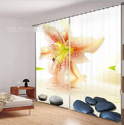 3D Lily Stones Blockout Photo Curtain Printing Curtains Drapes Fabric Window CA