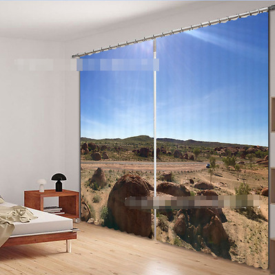 3D Road Stones Blockout Photo Curtain Printing Curtains Drapes Fabric Window CA