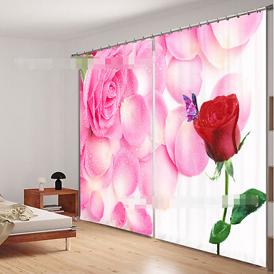 3D Color Roses Blockout Photo Curtain Printing Curtains Drapes Fabric Window CA