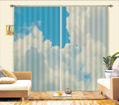 3D White Clouds Blockout Photo Curtain Printing Curtains Drapes Fabric Window CA