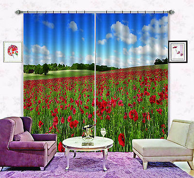 3D Flower Slope Blockout Photo Curtain Printing Curtains Drapes Fabric Window CA