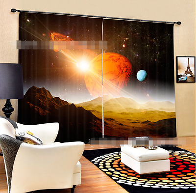 3D Sun Planets Blockout Photo Curtain Printing Curtains Drapes Fabric Window CA