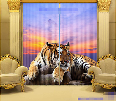 3D Lying Tiger Blockout Photo Curtain Printing Curtains Drapes Fabric Window CA