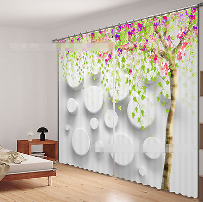 3D Tree Flowers 9 Blockout Photo Curtain Printing Curtain Drape Fabric Window CA
