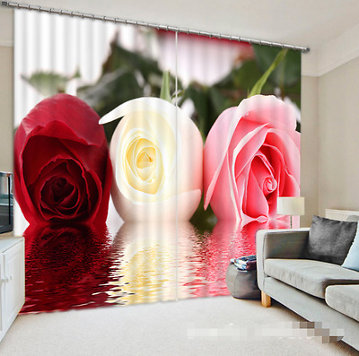 3D Rose Colors Blockout Photo Curtain Printing Curtains Drapes Fabric Window CA