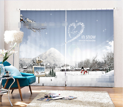 3D Snow Scenery Blockout Photo Curtain Printing Curtains Drapes Fabric Window CA