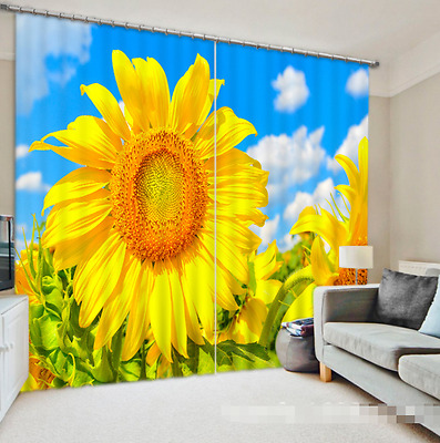 3D Sunflowers 1 Blockout Photo Curtain Printing Curtains Drapes Fabric Window CA