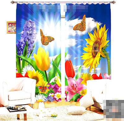 3D Flowers 120 Blockout Photo Curtain Printing Curtains Drapes Fabric Window CA