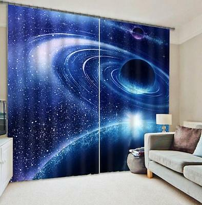 3D Space Planet Blockout Photo Curtain Printing Curtains Drapes Fabric Window CA