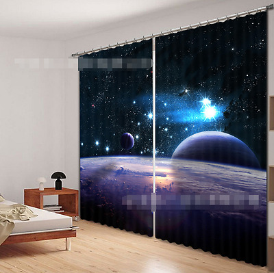 3D Stars Planet Blockout Photo Curtain Printing Curtains Drapes Fabric Window CA