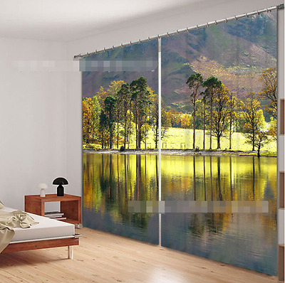 3D Lake Trees 1 Blockout Photo Curtain Printing Curtains Drapes Fabric Window CA