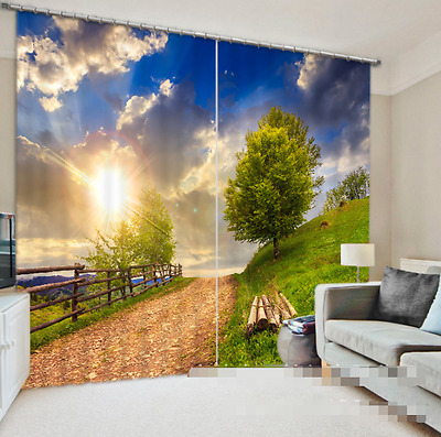 3D Sunny Road 2 Blockout Photo Curtain Printing Curtains Drapes Fabric Window CA