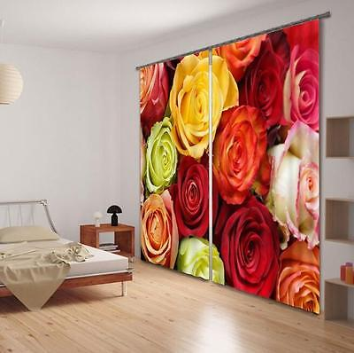 3D Pretty Roses Blockout Photo Curtain Printing Curtains Drapes Fabric Window CA