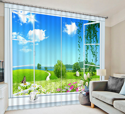 3D Lake Lawn 11 Blockout Photo Curtain Printing Curtains Drapes Fabric Window CA
