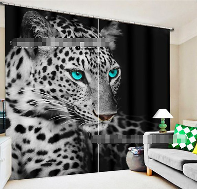 3D Black Leopard Blockout Photo Curtain Printing Curtain Drapes Fabric Window CA