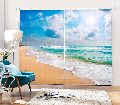 3D Quiet Sea 70 Blockout Photo Curtain Printing Curtains Drapes Fabric Window CA