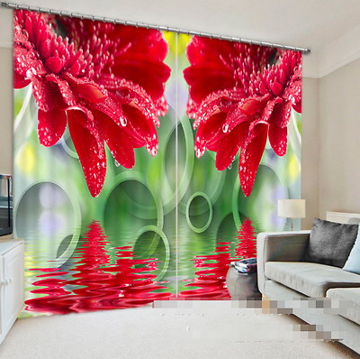 3D Flowers Dews Blockout Photo Curtain Printing Curtains Drapes Fabric Window CA