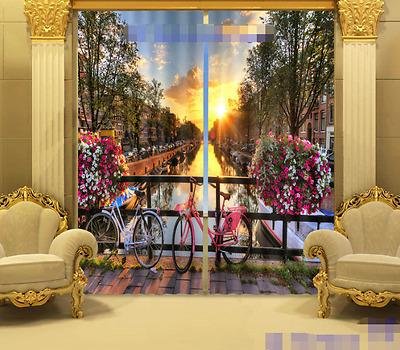 3D City Sunset Blockout Photo Curtain Printing Curtains Drapes Fabric Window CA