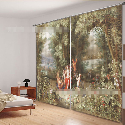 3D Ancient Life Blockout Photo Curtain Printing Curtains Drapes Fabric Window CA
